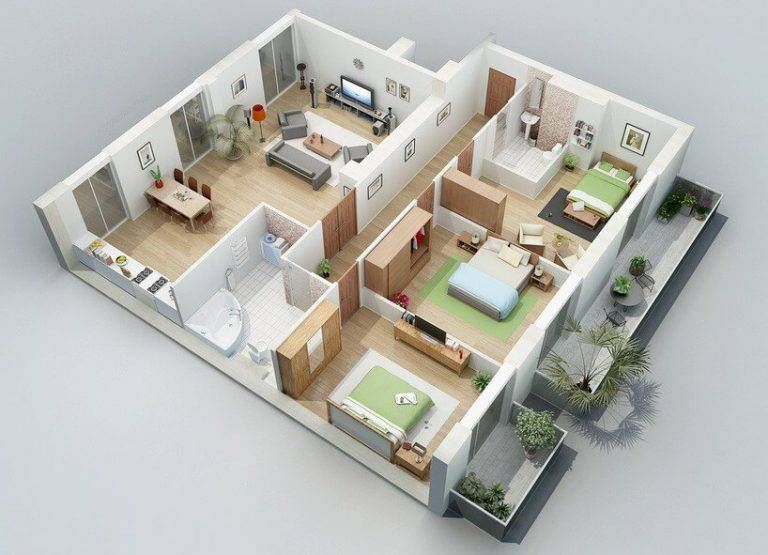 Free 3D floor plan free lay-out design for your house or