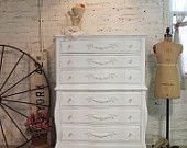 Painted Cottage Shabby White Romantic Dresser DR21. $595.00, via Etsy.