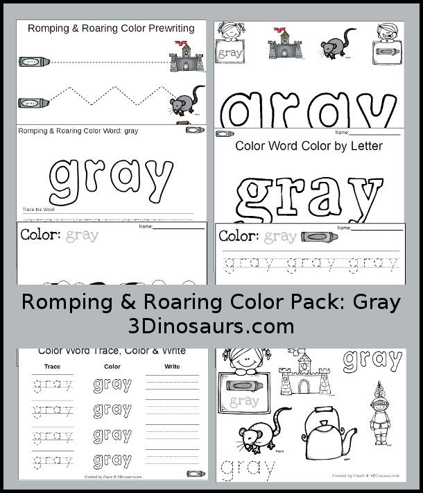 Free Romping Roaring Color Pack Gray 8 Pages Of Printables To Work On Preschool Worksheets Free Preschool Printables Color Worksheets For Preschool Free printable color word worksheets