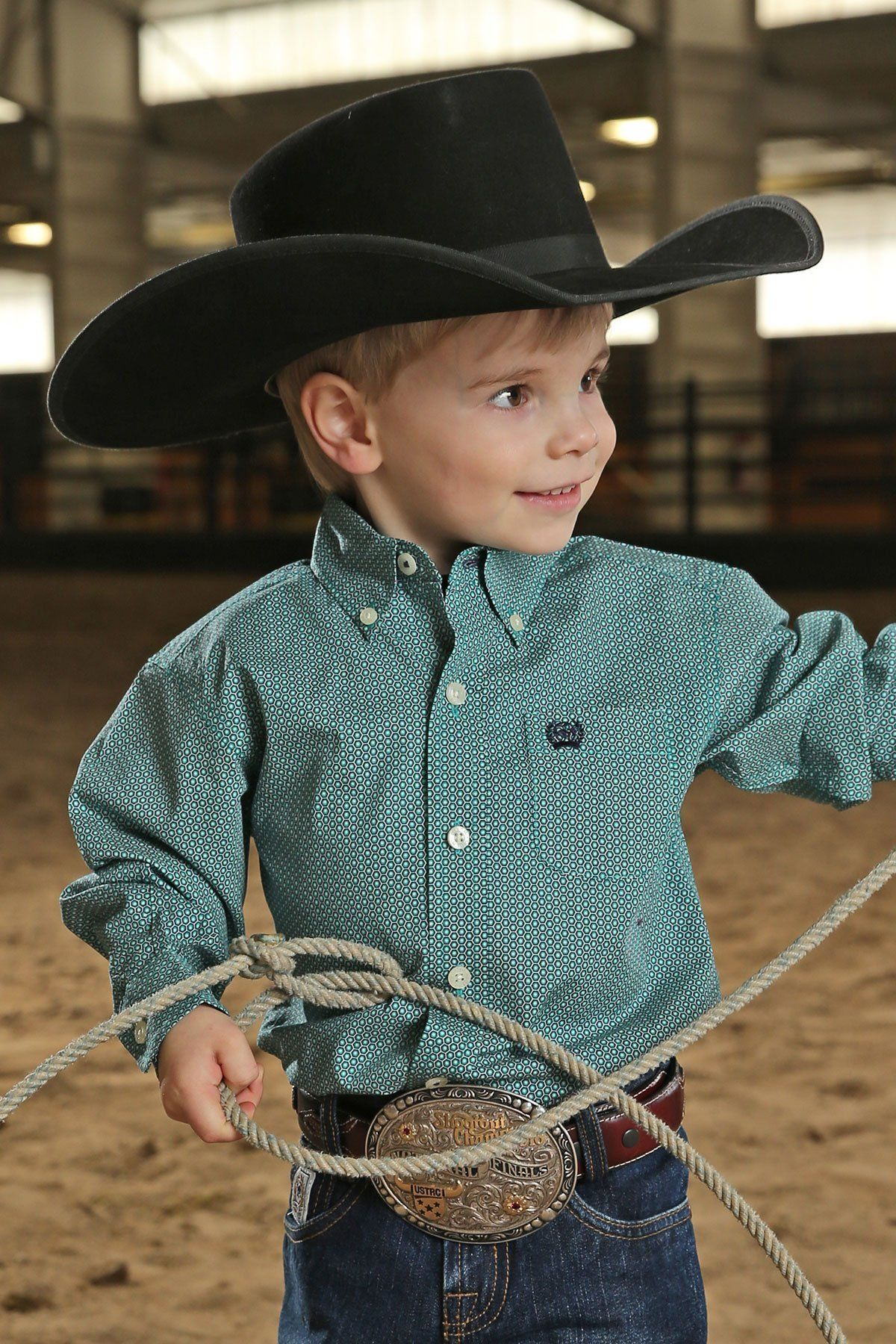 f847c4afe8e Cinch Infant/Toddler Boys Teal Hexagon Print Western Shirt | Our ...