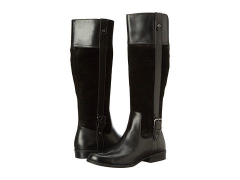 Womens Boots Anne Klein Cijiw - Wide Calf Black Suede Combo