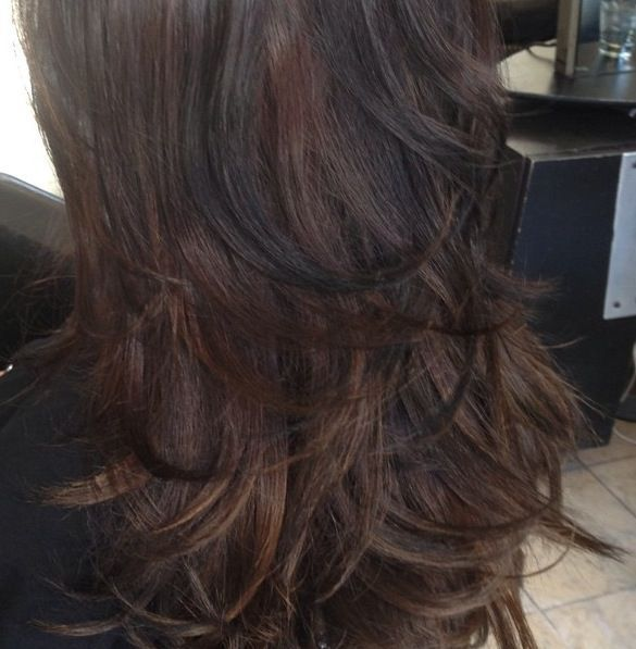 Dark brown hair with black lowlights