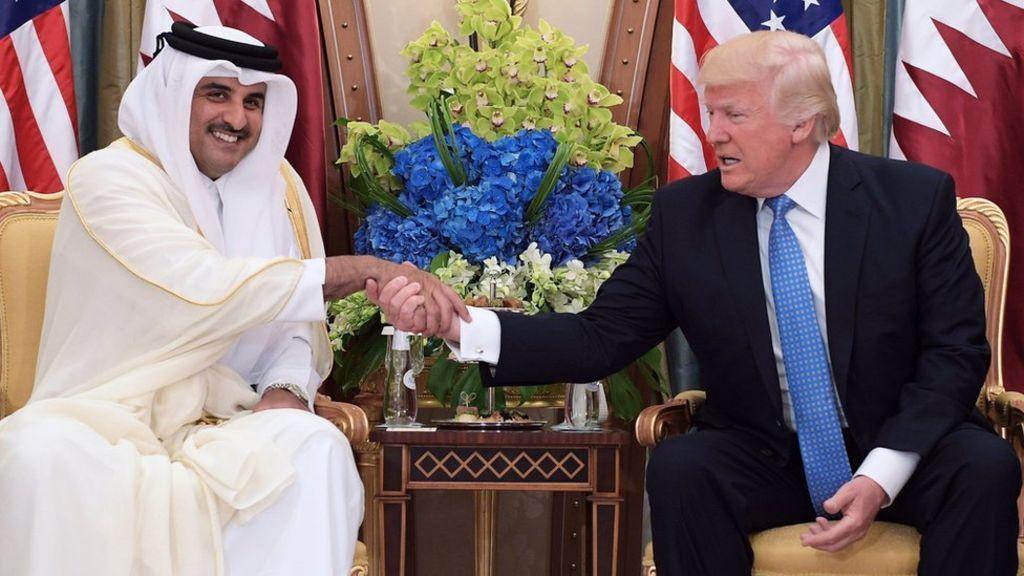 Image copyright                  AFP             Image caption                                      US President Donald Trump (R) shaking hands with Qatar's Emir Sheikh Tamim bin Hamad al-Thani                               In the sledgehammer world of Twitter diplomacy,... - #Patting, #Qatar, #Row, #Trump, #World_News