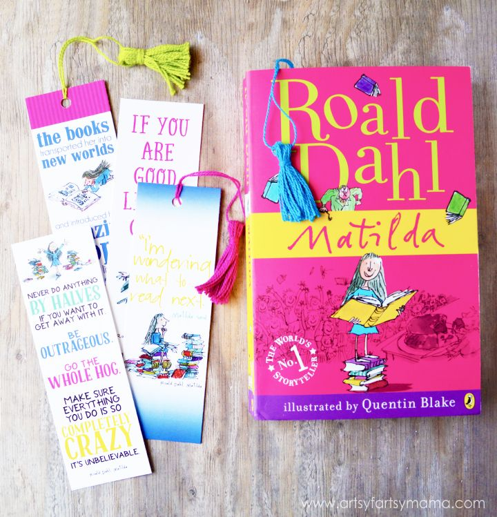 Free Printable Roald Dahl Bookmarks is part of Bookmarks printable, Harry potter printable bookmarks, Bookmarks kids, Creative diy bookmarks, Diy bookmarks, Free printable bookmarks - Free Printable Roald Dahl Bookmarks and DIY Mini Tassel Tutorial