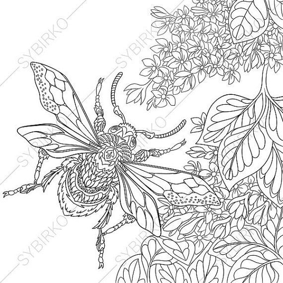 Coloring Pages For Adults Beetle Bug Honey Bee Bumble Bee Adult Coloring Pages Digital Jpg Pdf Coloring Page Instant Download Print With Images Animal Coloring Books Coloring Book Pages Adult Coloring Pages