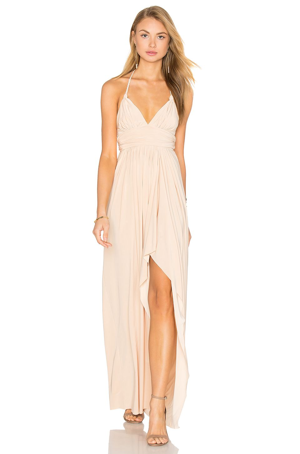 MISA Los Angeles Ever Maxi Dress in Nude | Wedding Guest | Pinterest
