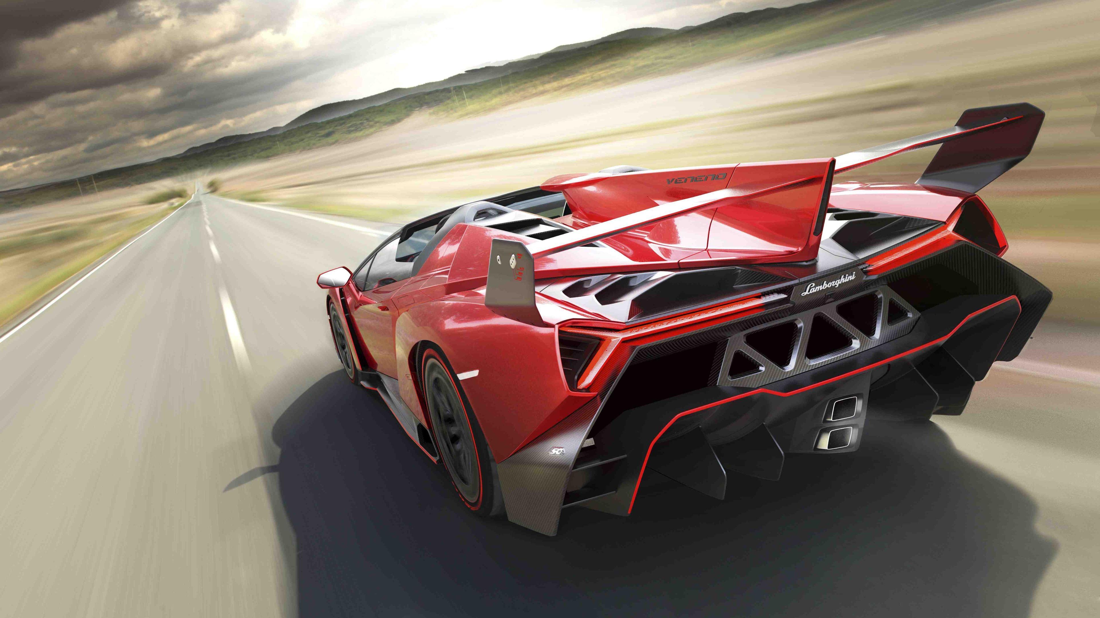 Lamborghini Veneno Roadster Rear 4k Wallpaper Lamborghini