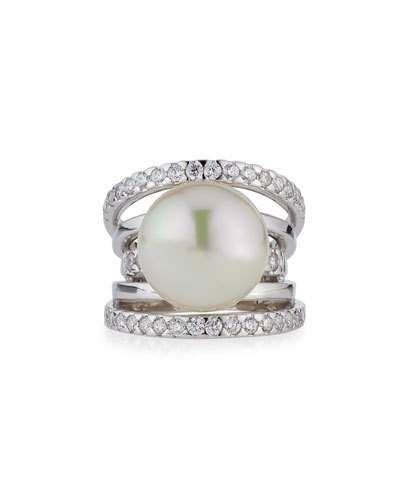 Majorica Split Pearl & Golden Ring, Size 7