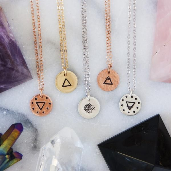 Triangle Charm Necklace In Your Choice Of Metal Triangle Choices