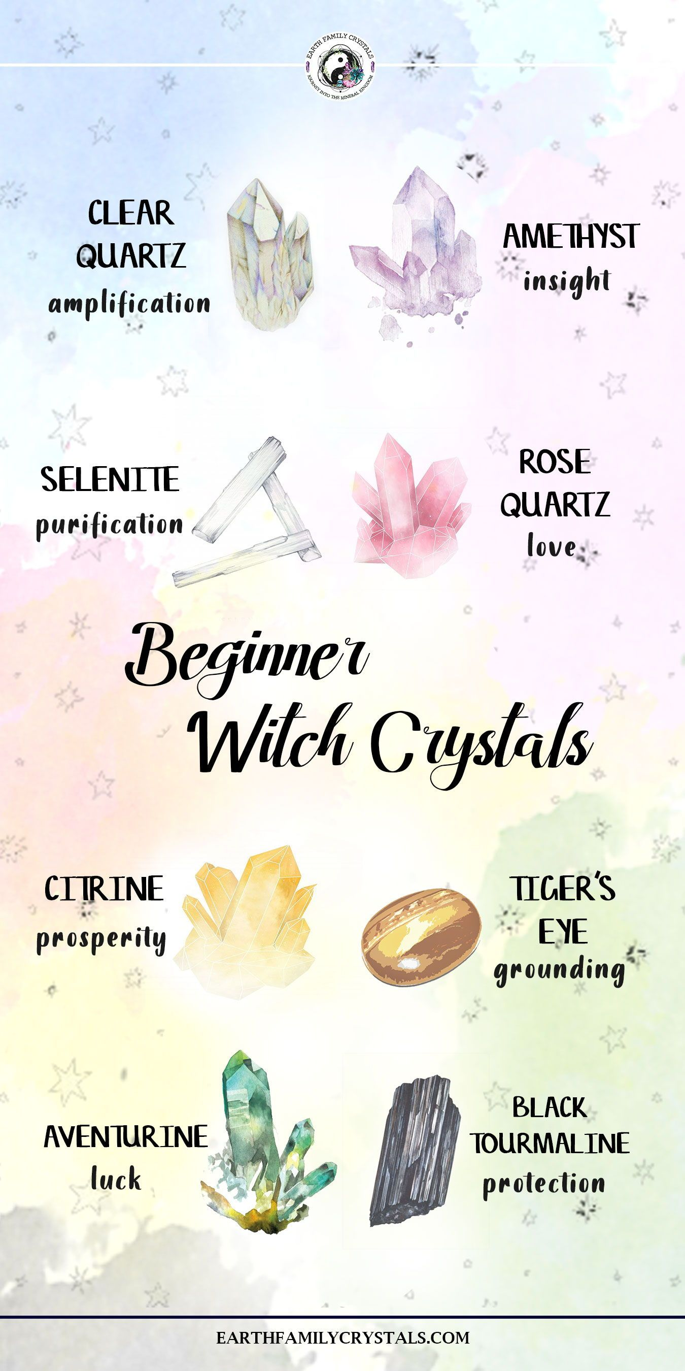 Beginner Witch Crystals Earth Family Crystals In 2020 Wicca Crystals Healing Gemstones Crystals Witchcraft For Beginners