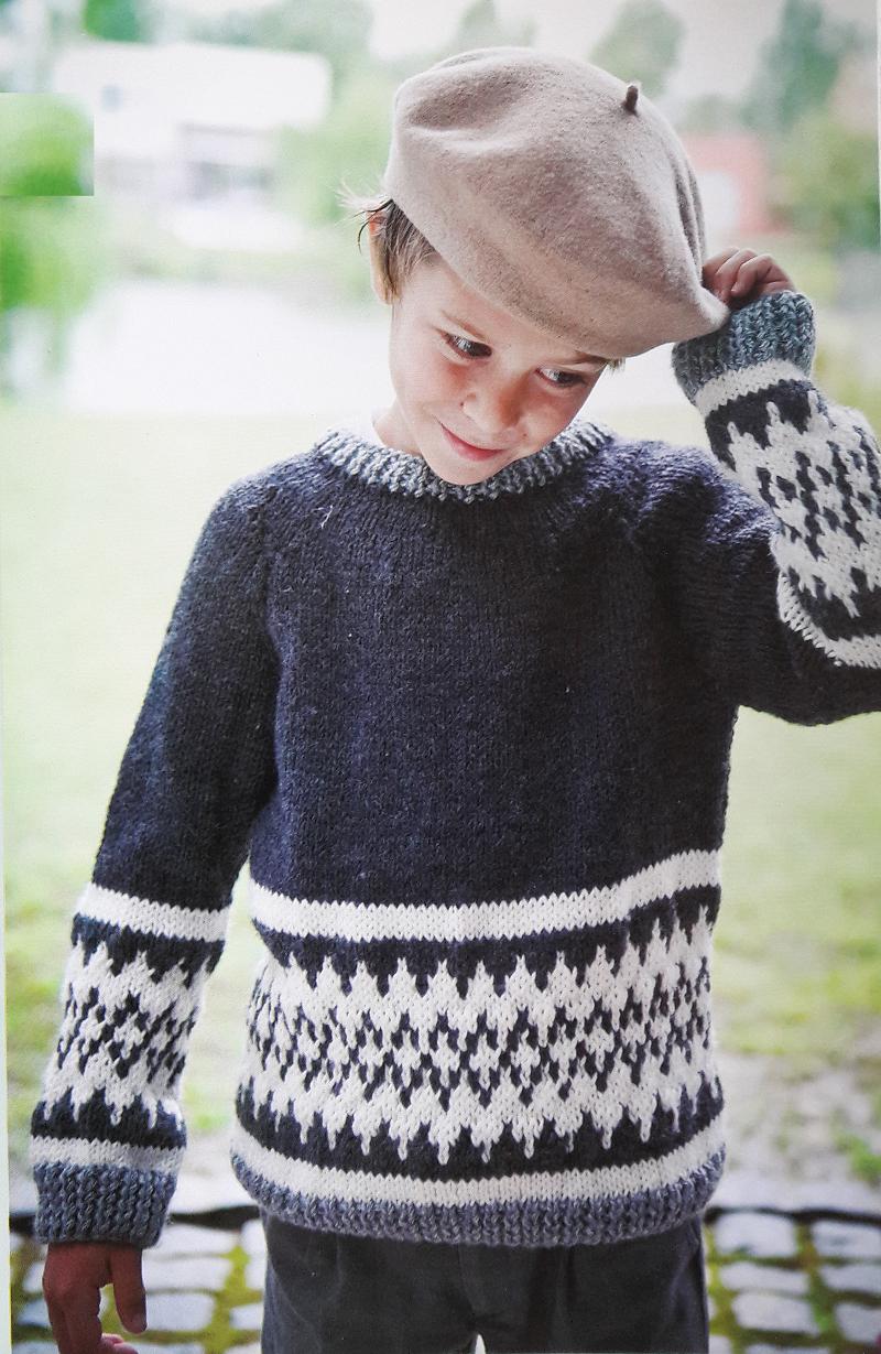 Patrón para tejer un sweater de niño con guarda en jacquard | dos ...