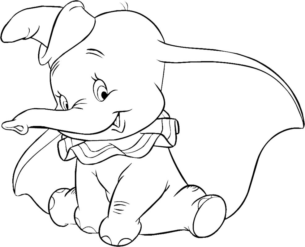 dumbo elephant coloring pages for kids printable coloring pages - Dumbo Elephant Coloring Pages