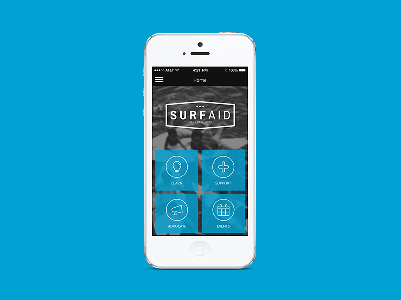 Surfaid App - Home Screen