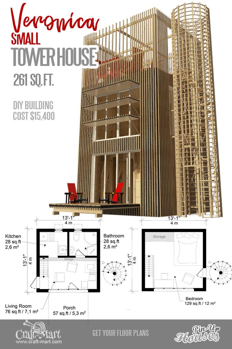 9 Adorable Tiny Home Plans And Designs For Fun Weekend Projects In 2020 With Images Micro House Plans Tiny House Plans Tower House