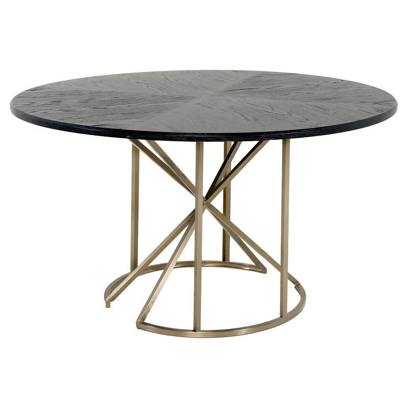 Gabby Bennie Round Wood Top Dining Table Metal Dining Table