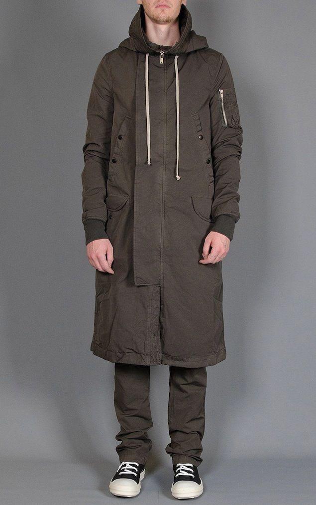 Kanye West Wears Rick Owens DRKSHDW Zip Hooded Long Parka Coat in ...