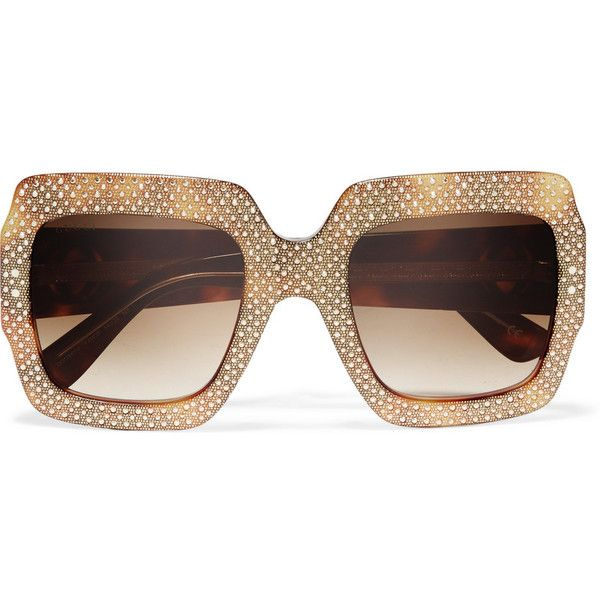 90c800f0552 Gucci Square-frame crystal-embellished acetate sunglasses featuring  polyvore