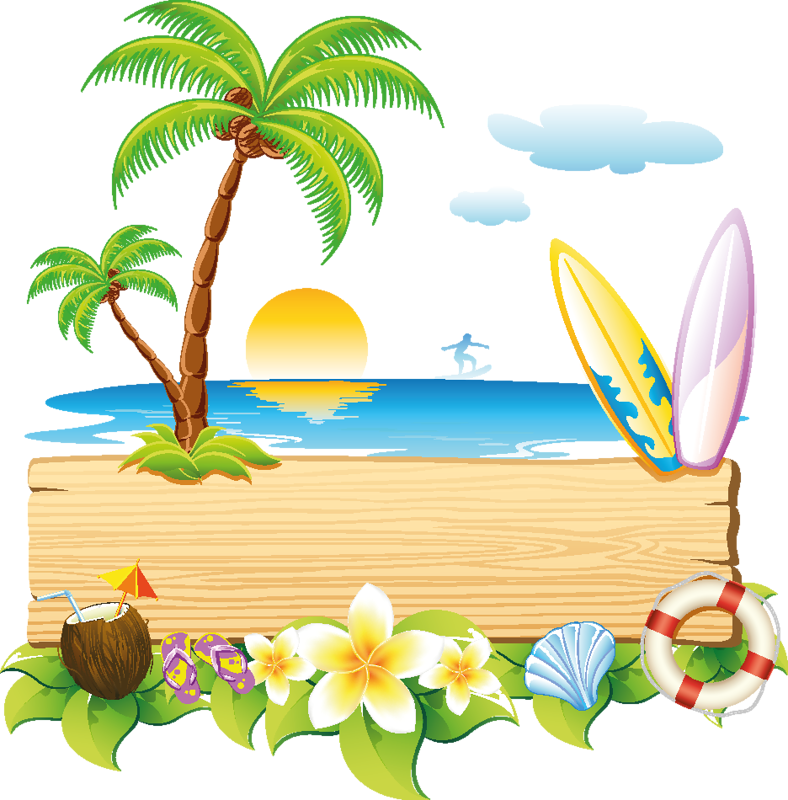 beach scene clipart border. surfer surfboard and palm trees at the beach vacation vector clip art illustration picture scene clipart border