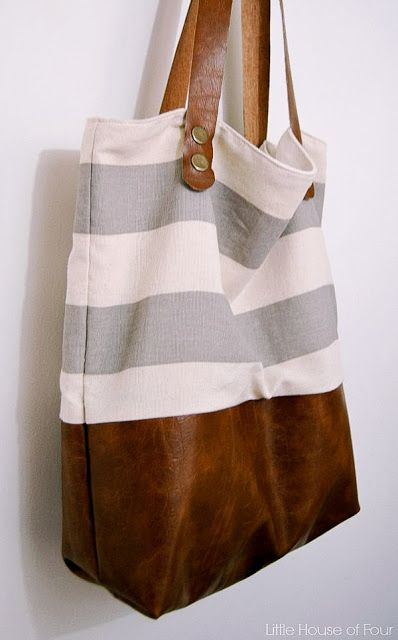 Leather Bottom Fabric Tote {Monthly DIY Challenge} -   25 diy bag design ideas