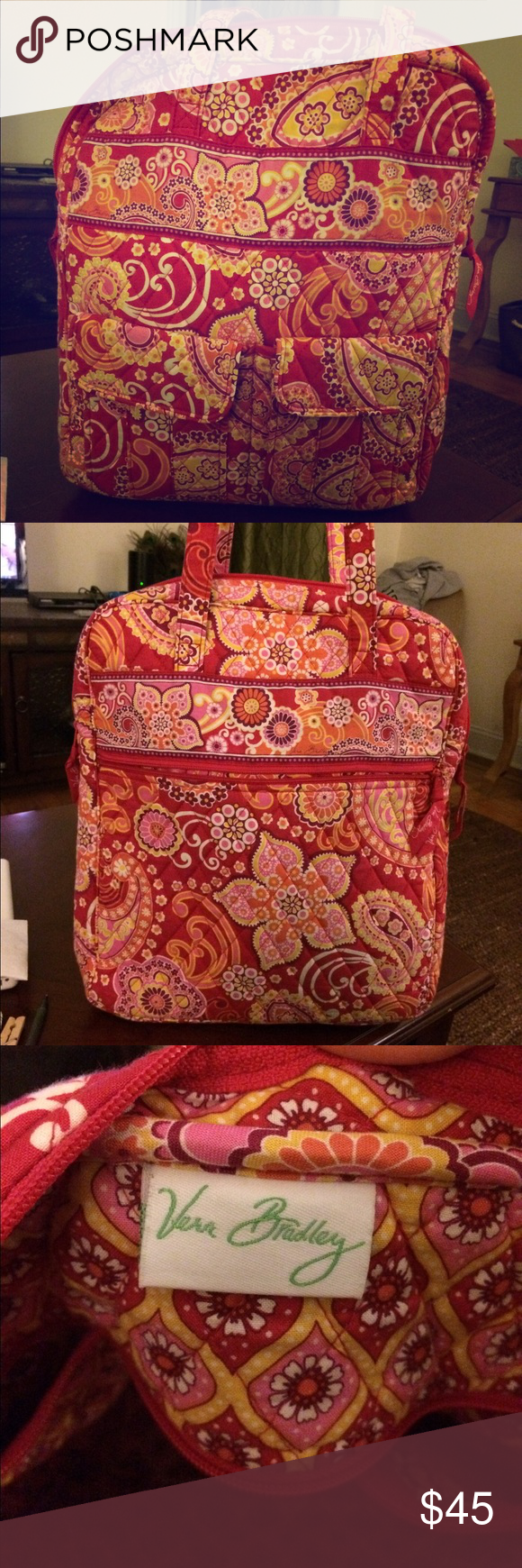 Vera Bradley laptop bag Print is raspberry fizz. Fits a laptop with books and notebooks. Perfect for a college student or teacher. Vera Bradley Bags Laptop Bags
