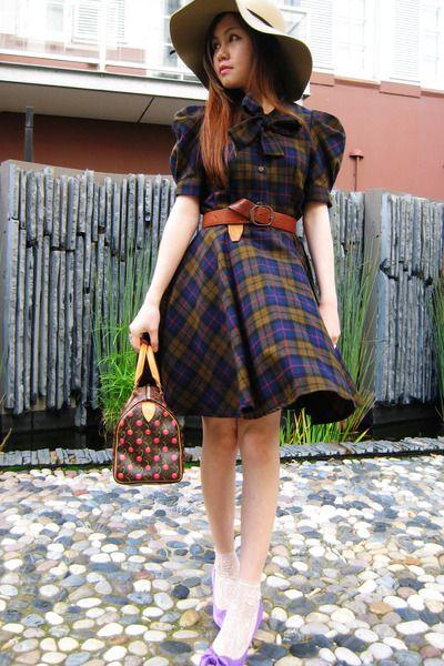 White lace ankle socks, purple pumps, plaid dress, brown leather belt