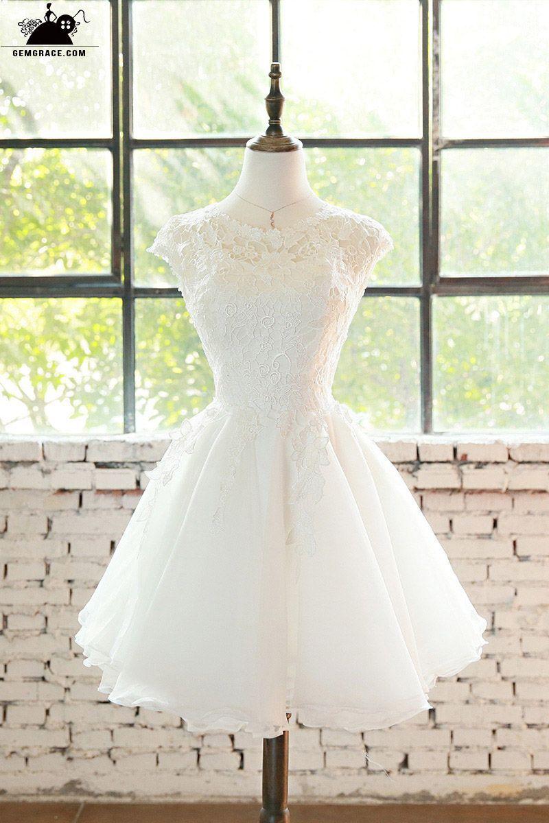 63d2fcbf8871 Only $99.99, Short Wedding Dresses Cute Short Lace Cap Sleeve Short Wedding  Dress Lace Tulle #E9816 at GemGrace. View more special Beach Wedding Dresses  ...