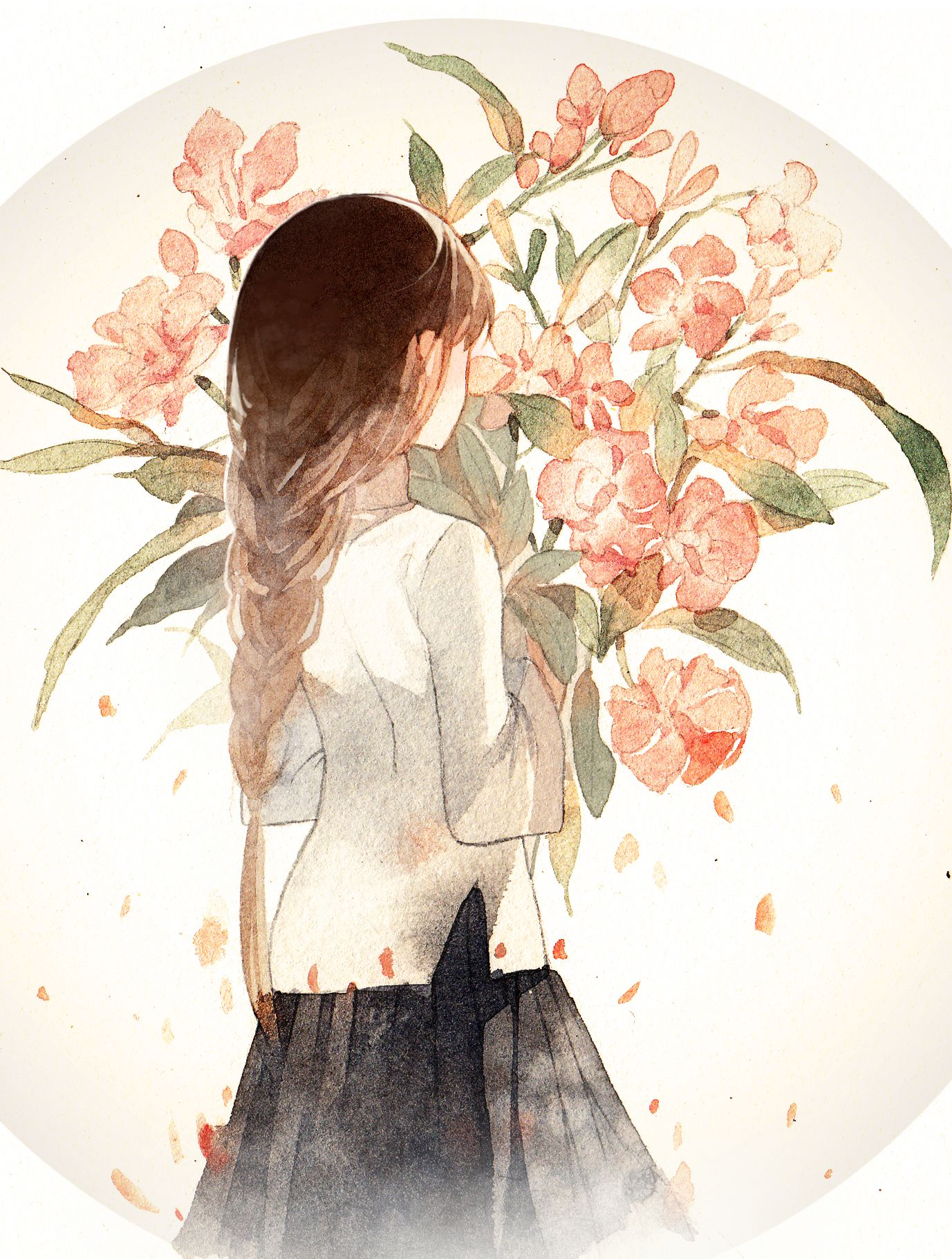 anime girl with brown hair, braid, white sleeved shirt, skirt and