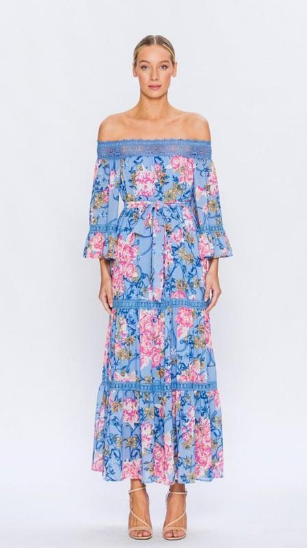 3372a98dcb3 simonne  floral off the shoulder maxi in 2018