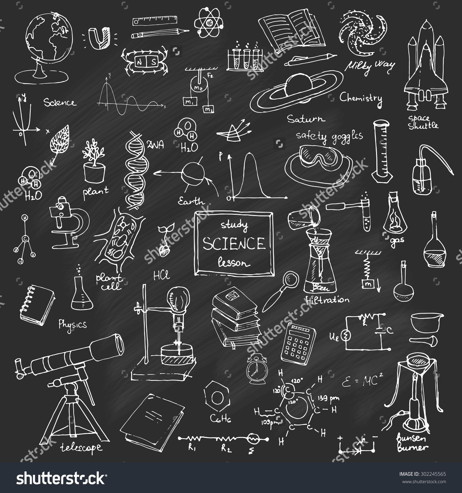 Freehand Drawing School Items Back To Science Theme Hand Green Circuit Board Modern Wall Clock By Robyriker Set Of Supplies Sketchy Doodles Vector Illustration