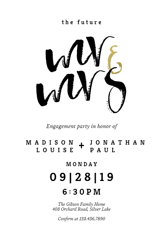 Mr And Mrs Lettering Engagement Party Invitation Template Free Greetings Island Engagement Party Invitations Engagement Party Invitations Diy Engagement Party