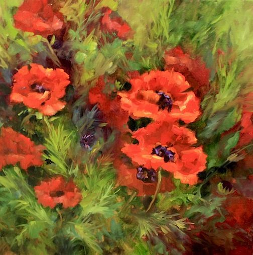Spring Promise Poppies, 18X18, Oil on Gallery Wrap Canvas www.nancymedina.com $1200