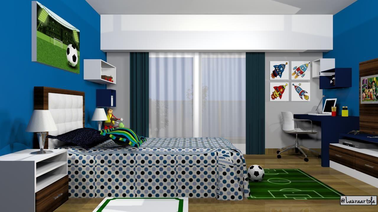 Proyecto de dormitorio infantil para un varon futbol y for Decoracion de cuartos de ninos de futbol