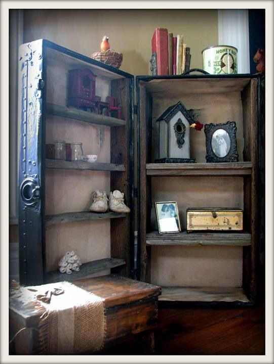 Jack Repurposed Trunk Shelf Made From Antique Steamer Trunk And