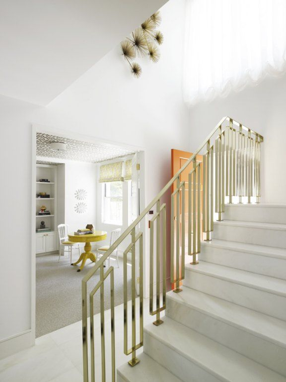 Tiffany Leigh Interior Design Brass Stair Rails Staircase