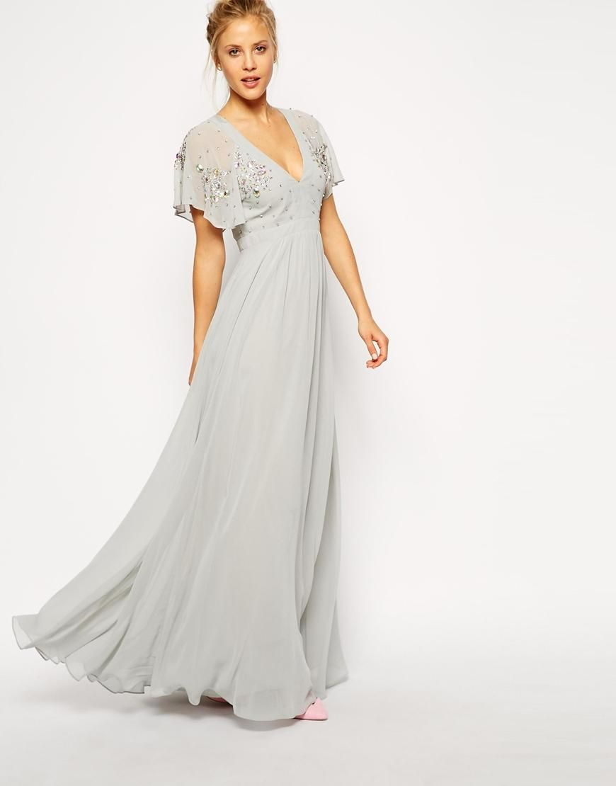 Asos asos flutter sleeve beaded maxi dress at asos