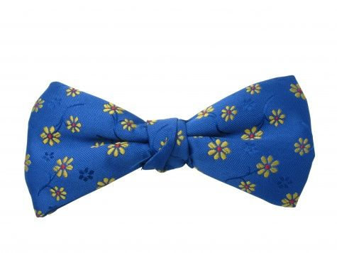 Ready Tied Bow Tie with Gold Flowers on Blue Background - Fabulous Floral Bow Tie for summer