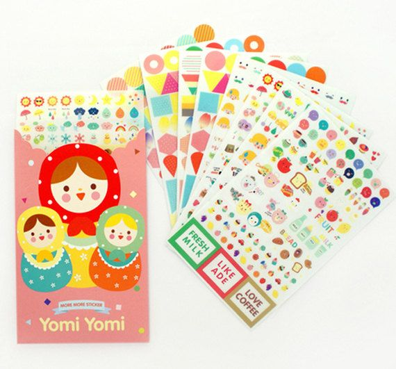 set of 8 sheets lovely cartoon cute doll deco stickers for daily life decoration,envelope book phone label Korea style masking sticker