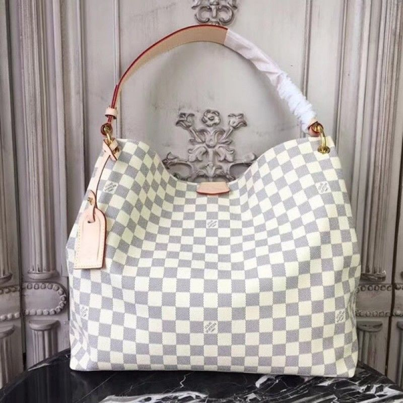 16586c78ee3 Louis Vuitton N42233 Graceful MM Damier Azur Canvas Rose Ballerine ...