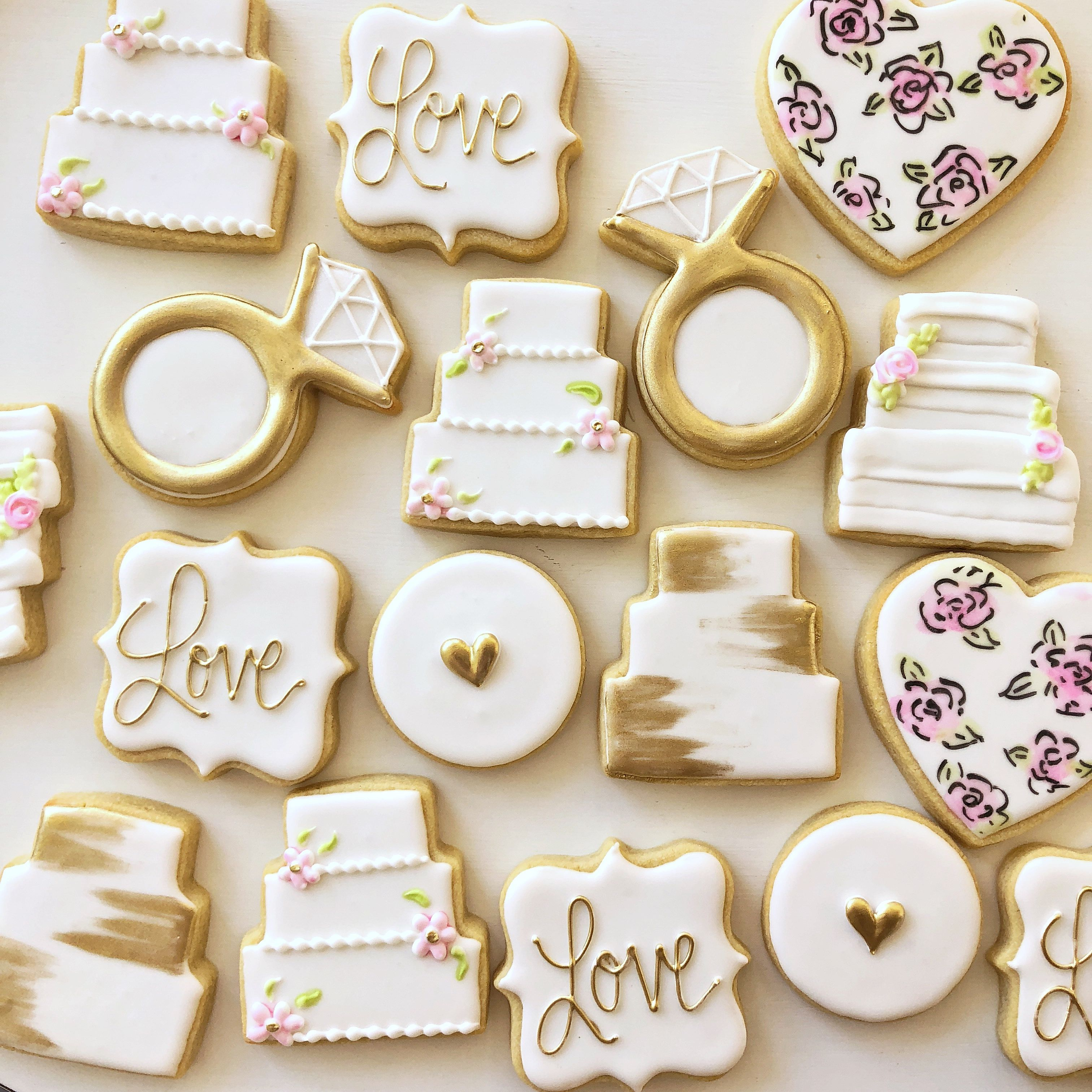Wedding themed decorated sugar cookies. Perfect for