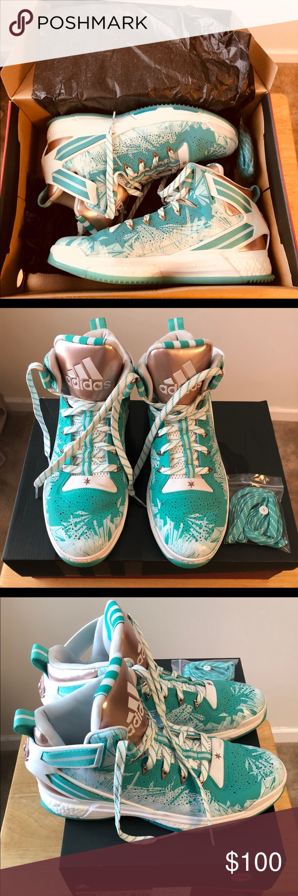da1524e551ea Adidas D Rose 6 S85531 Boost Hyper Green White 11 Authentic DEAD STOCK RARE    HARD TO FIND LIKE NEW CONDITION NEAR PERFECT Adidas D Rose 6 Boost Hyper  Green ...