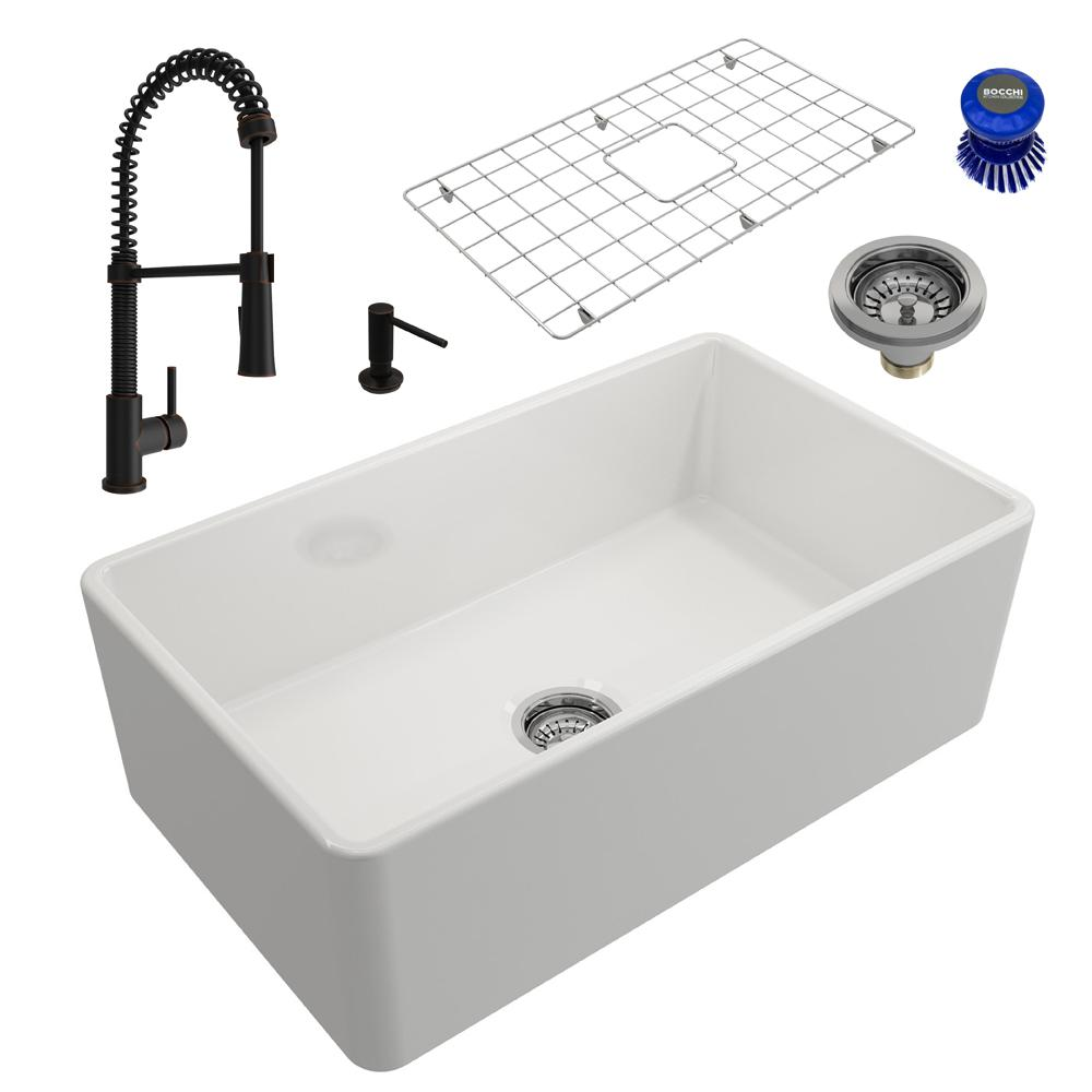Bocchi Classico All In One Farmhouse Fireclay 30 In Single Bowl Kitchen Sink With Livenza Rubbed Bronze Faucet And Soap Disp White Single Bowl Kitchen Sink Sink Brushed Nickel Faucet