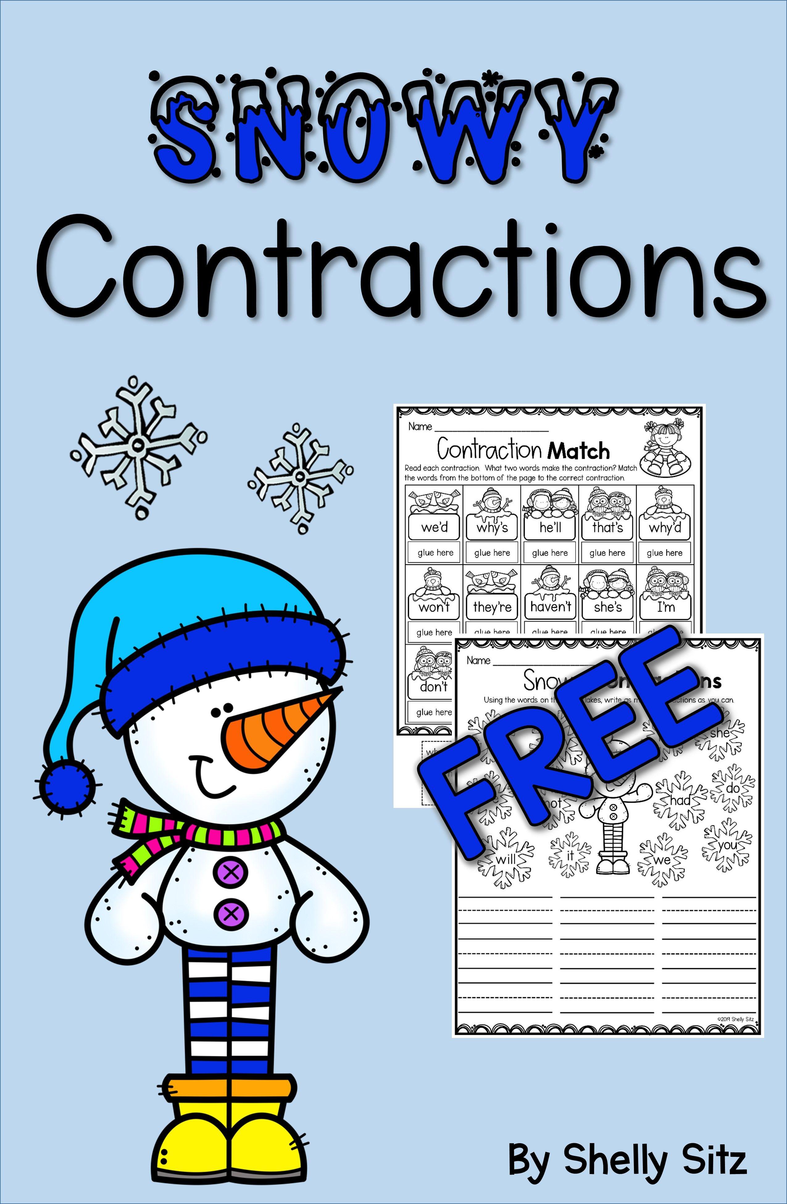 Contraction Worksheets Freebie   Contraction worksheet [ 3900 x 2550 Pixel ]