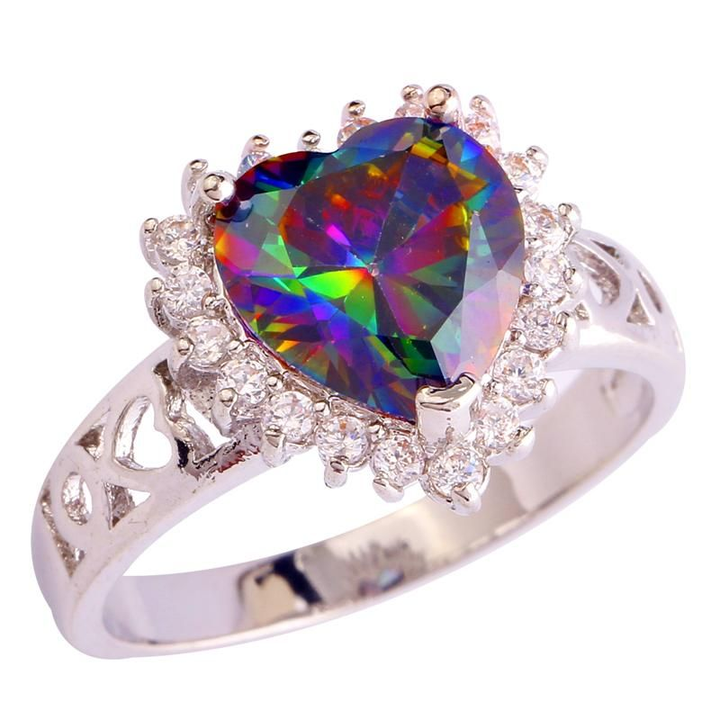 Mysterious Heart Cut Rainbow white hollow 925 Silver color Ring Size 6 7 8 9 10 11 12 New Fashion Jewelry Gift For Women