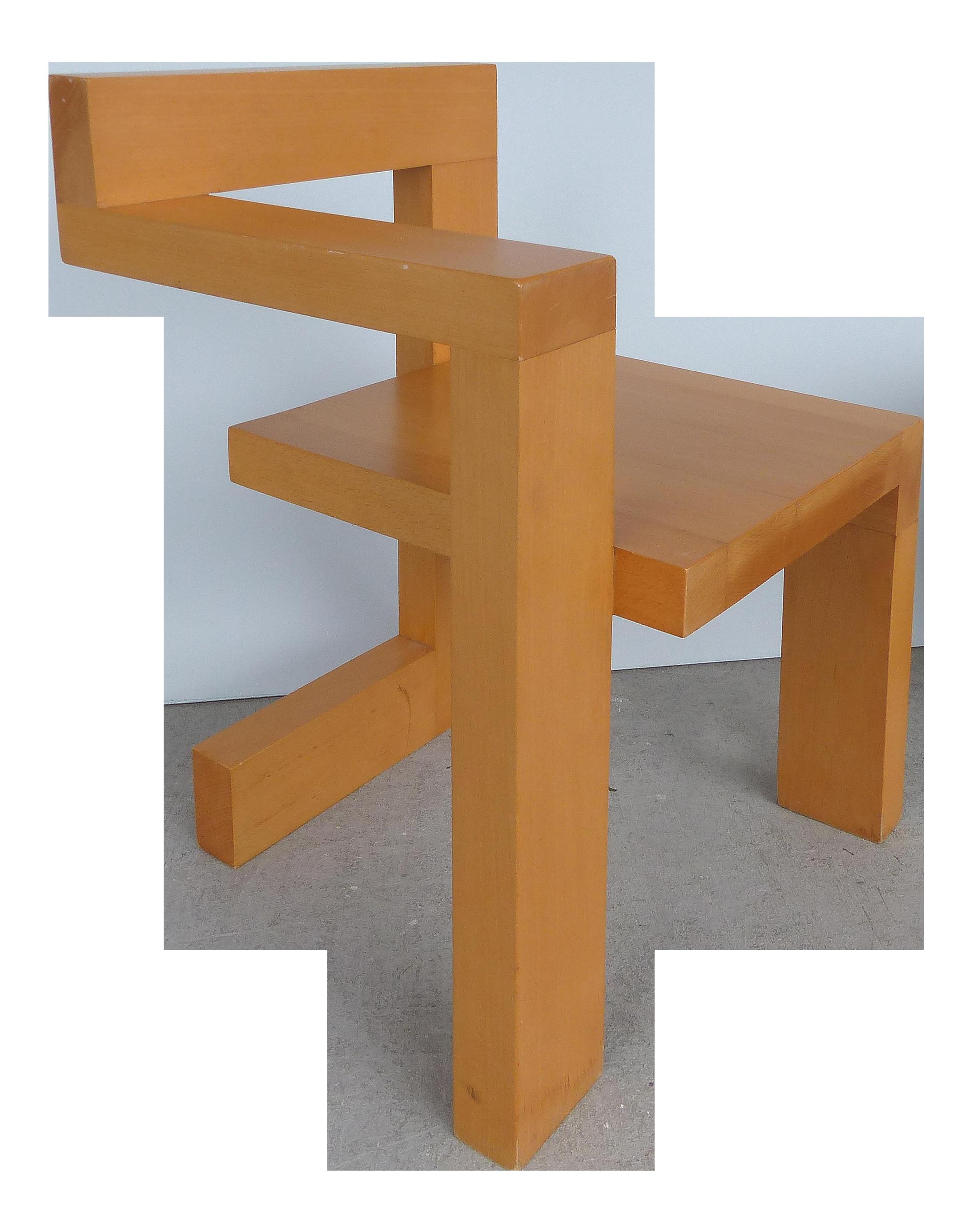 Sculptural modern constructivist chair custom made after gerrit rietveld