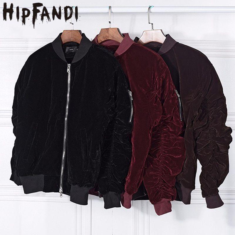 Click To Buy Hipfandi 2017 Fashion Kanye West Oversized Jackets Vintage Wine Red Velvet Fabr Bomber Jacket Fashion Bomber Jacket Designer Clothes For Men