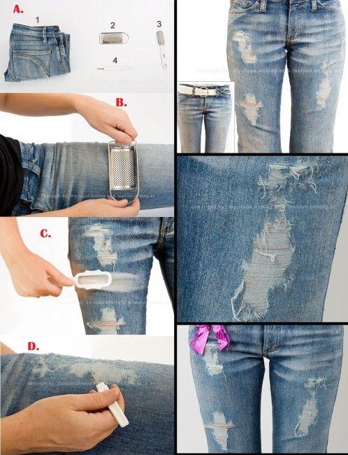 löcher in jeans schneiden