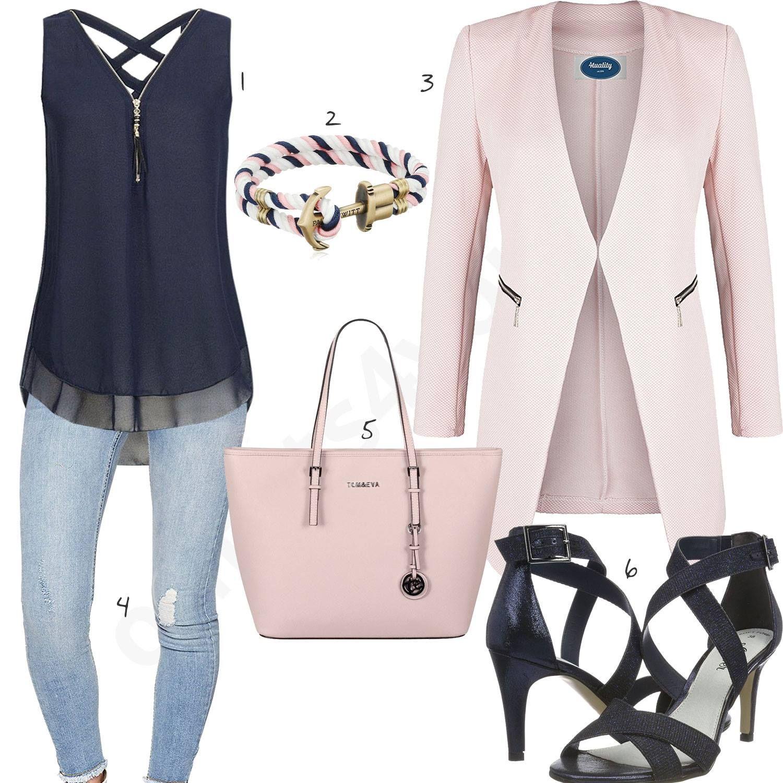 eleganter look mit rose blazer und handtasche - outfits4you