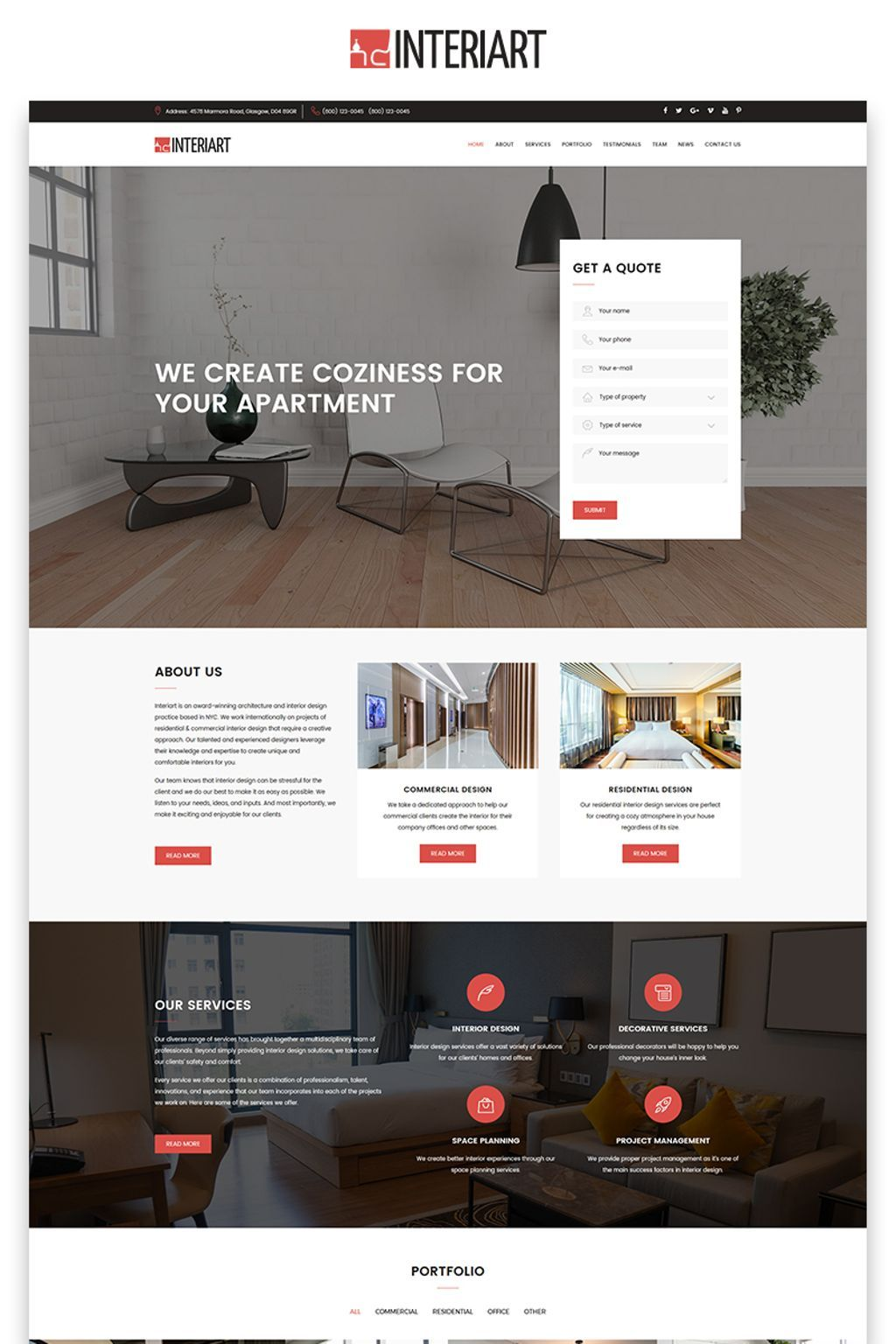Interiart Interior Design Html Landing Page Template With