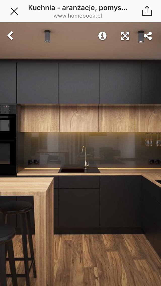 Kuchnia Drewno I Czerń Wnętrza W 2019 Projekty Wnętrz