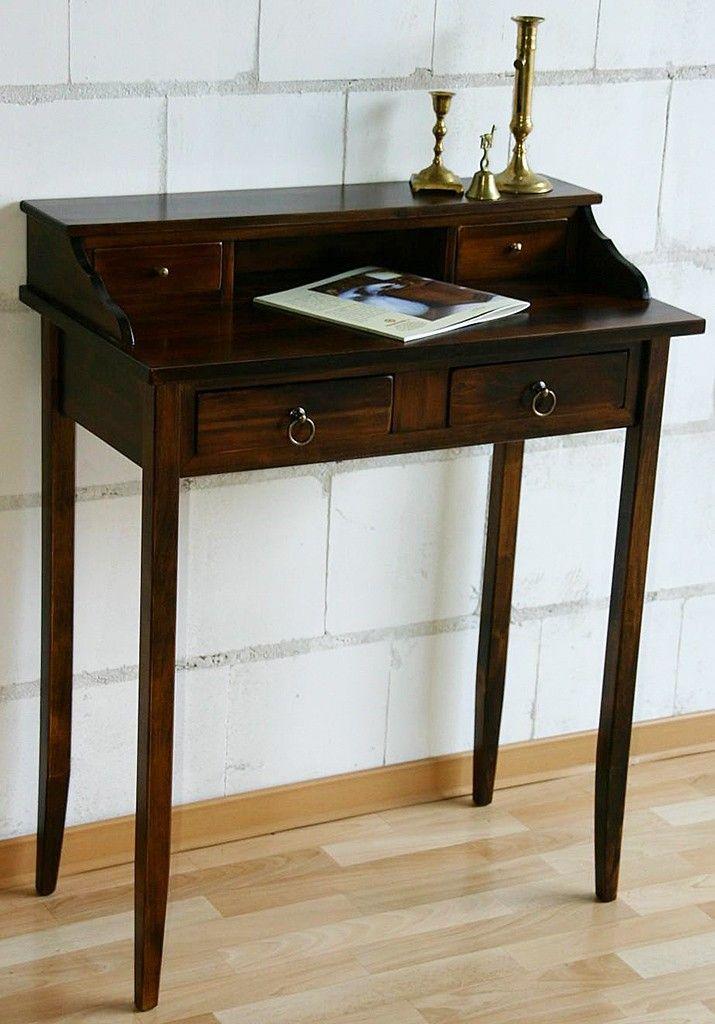 Massivholz sekret r schreibtisch mit 4 schubladen holz for Schreibtisch mit aufsatz holz